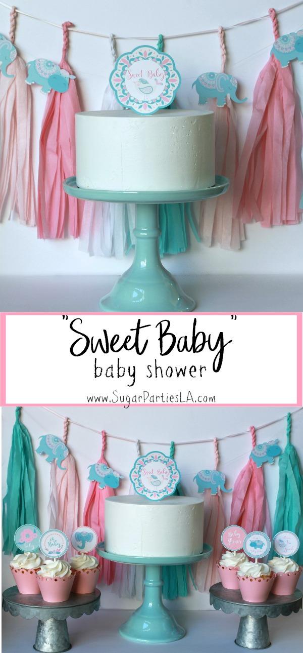 It's a girl baby shower-boho baby shower-girl baby shower-Baby Shower Cupcake toppers-www.sugarpartiesla.com.