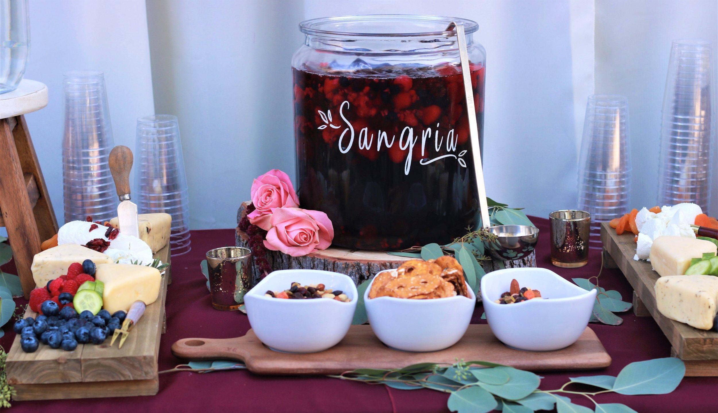 Fall Wedding-Sangria-wedding-wedding drinks-wedding cheese and cracker table-wedding appetizer table -www.SugarPartiesLA.com