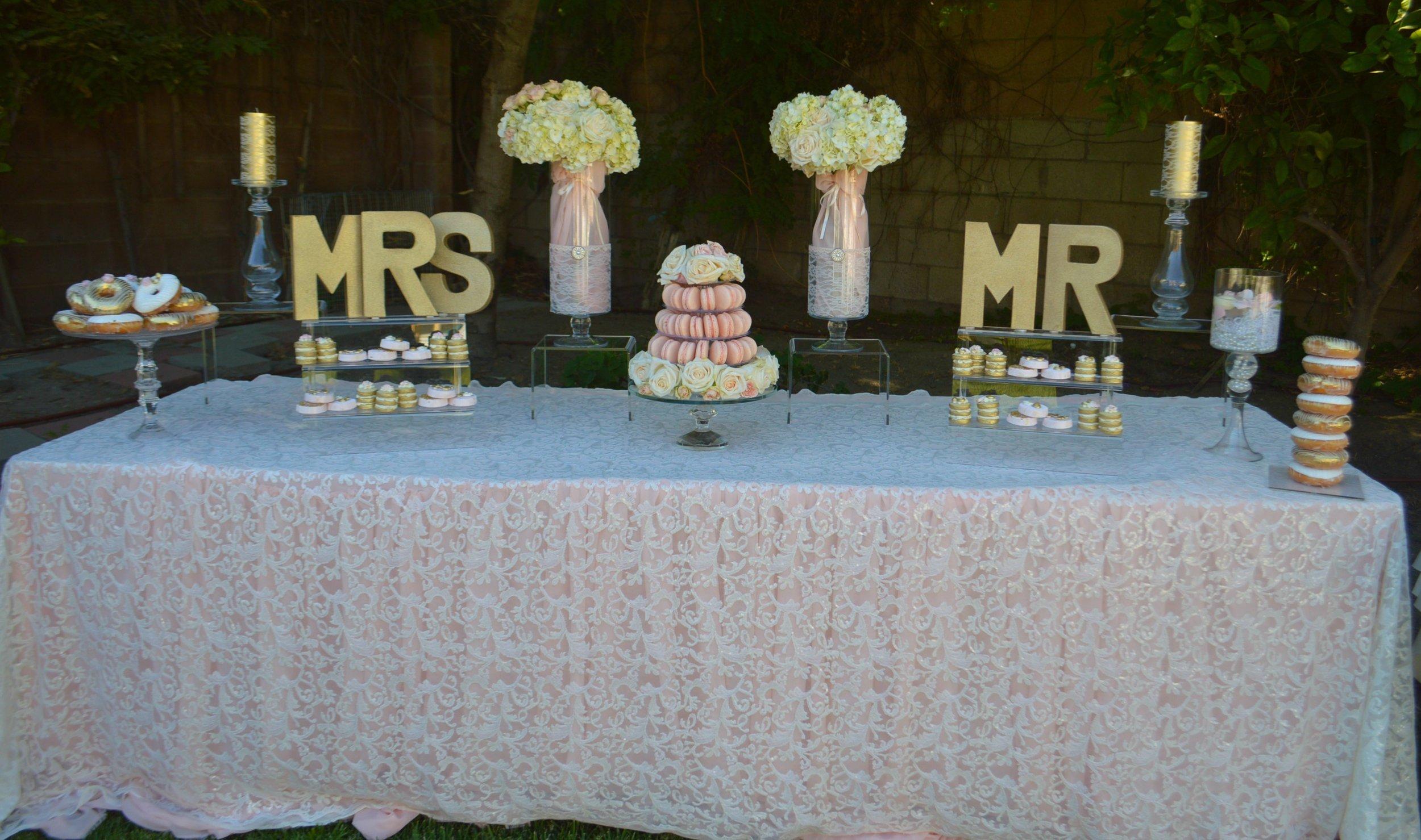 Mr and Mrs-Wedding-Wedding dessert table-wedding ideas-garden wedding-spring wedding-summer wedding-wedding macroons-macron- backyard wedding-www.SugarPartiesLA.com.jpg