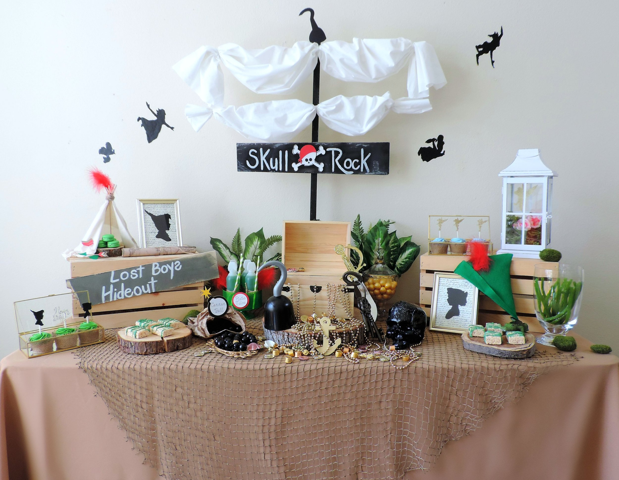 Peter Pan Dessert Table-Peter Pan Party ideas-Peter Pan party decor-peter pan party ideas-never grow up-skull rock -kids party ideas-www.SugarPartiesla.com.jpg