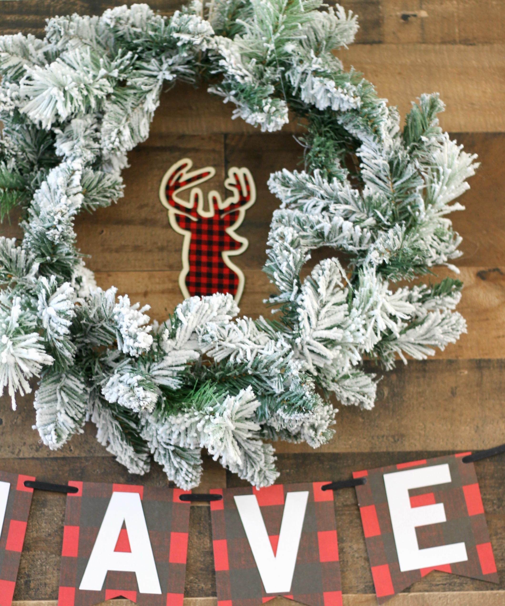 Christmas Party-Rustic Party-Christmas party decor-holiday wreath-flocking wreath decor-christmas party decor-christmas drink station-christmas ideas-www.SugarPartiesLA.com.jpg