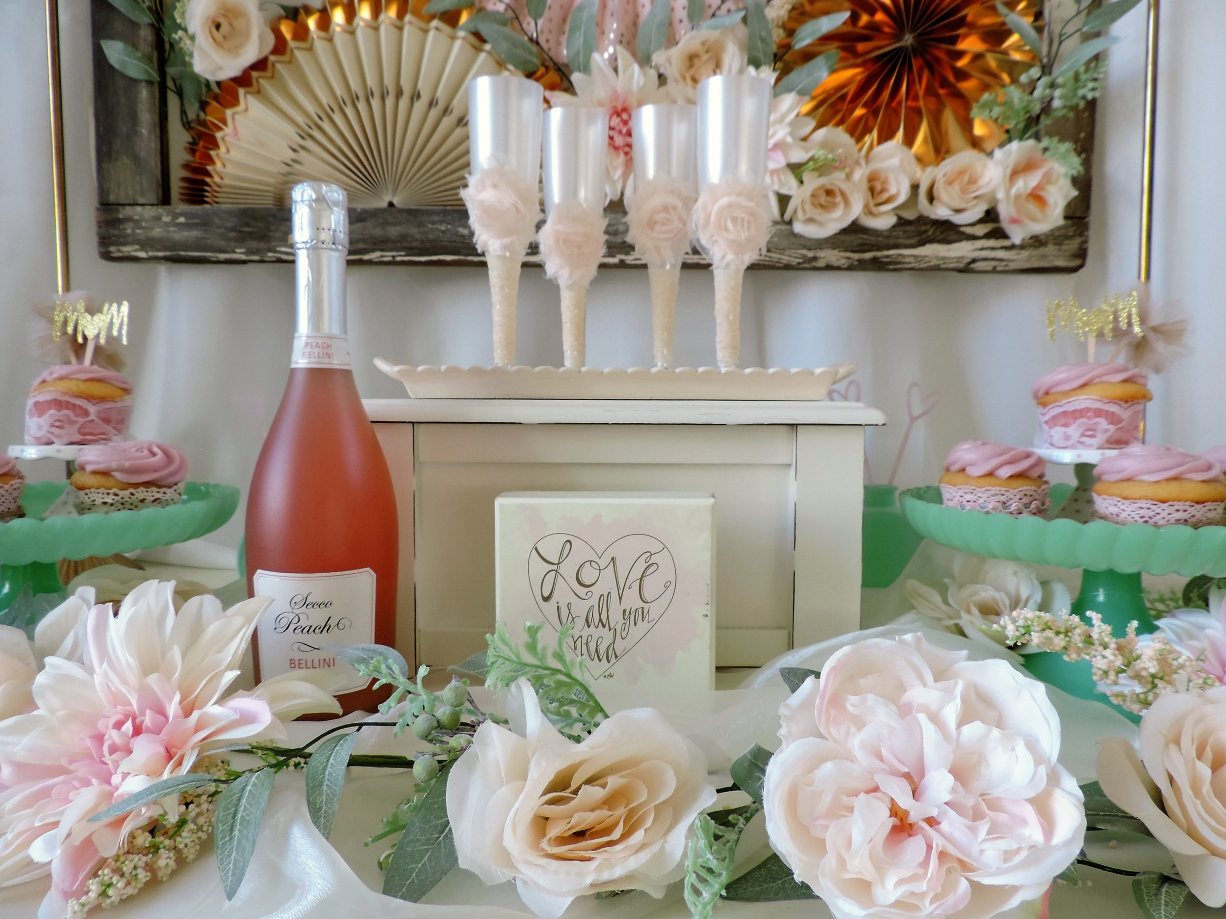 Mother's Day Brunch-Mother's Day Champagne-Mother's Day decor ideas-Champagne and cupcakes-www.SugarPartiesLA.com.jpg