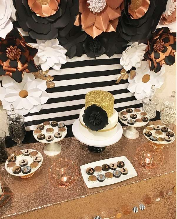 Black white and Rose Gold Birthday Party-25th Birthday-Rose Gold Birthday-Black and White Party Ideas-Paper Flower Backdrop-Paper Flowers-www.SugarPartiesLA.com