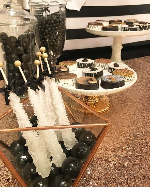 Sugar Stick Candy-Black white and Rose Gold Birthday Party-25th Birthday-Rose Gold Birthday-Black and White Party Ideas-Paper Flower Backdrop-Paper Flowers-Dessert Table-www.SugarPartiesLA.com
