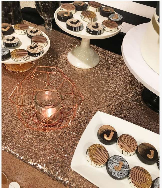 Black white and Rose Gold Birthday Party-25th Birthday-Rose Gold Birthday-Black and White Party Ideas-Paper Flower Backdrop-Paper Flowers-Chocolate Covered Oreos-Birthday Dessert Table-Rose Gold Dessert Table-www.SugarPartiesLA.com