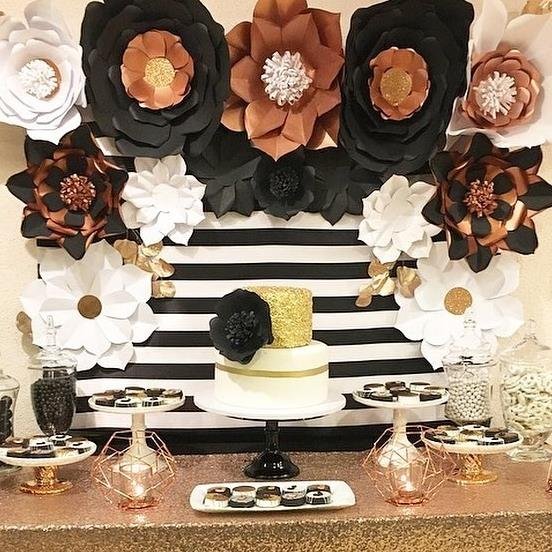 Black white and Rose Gold Birthday Party-25th Birthday-Rose Gold Birthday-Black and White Party Ideas-Paper Flower Backdrop-Paper Flowers-Black and White Stripe Party-Black and White Party Dessert Table-www.SugarPartiesLA.com
