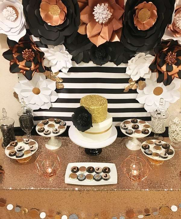 Black white and Rose Gold Birthday Party-25th Birthday-Rose Gold Birthday-Black and White Party Ideas-Paper Flower Backdrop-Paper Flowers-Rose Gold Birthday-Rose Gold-www.SugarPartiesLA.com