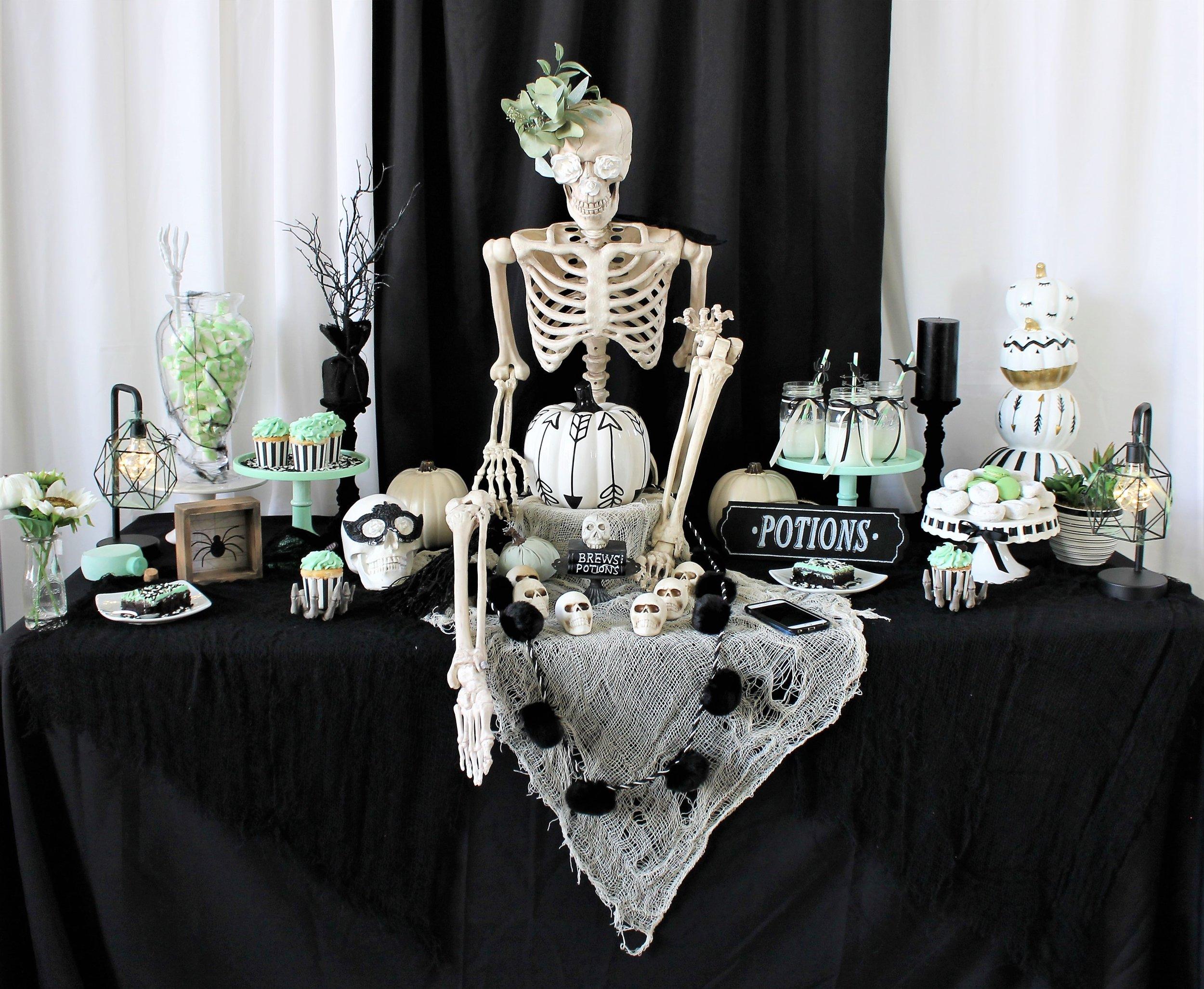 Halloween Party Ideas-Pastel Halloween -Mint Halloween-Halloween Dessert Table-Halloween Desserts-Halloween Candy Table-Boho Halloween-Halloween Skeleton-Halloween Party Ideas-www.SugarPartiesLA.com