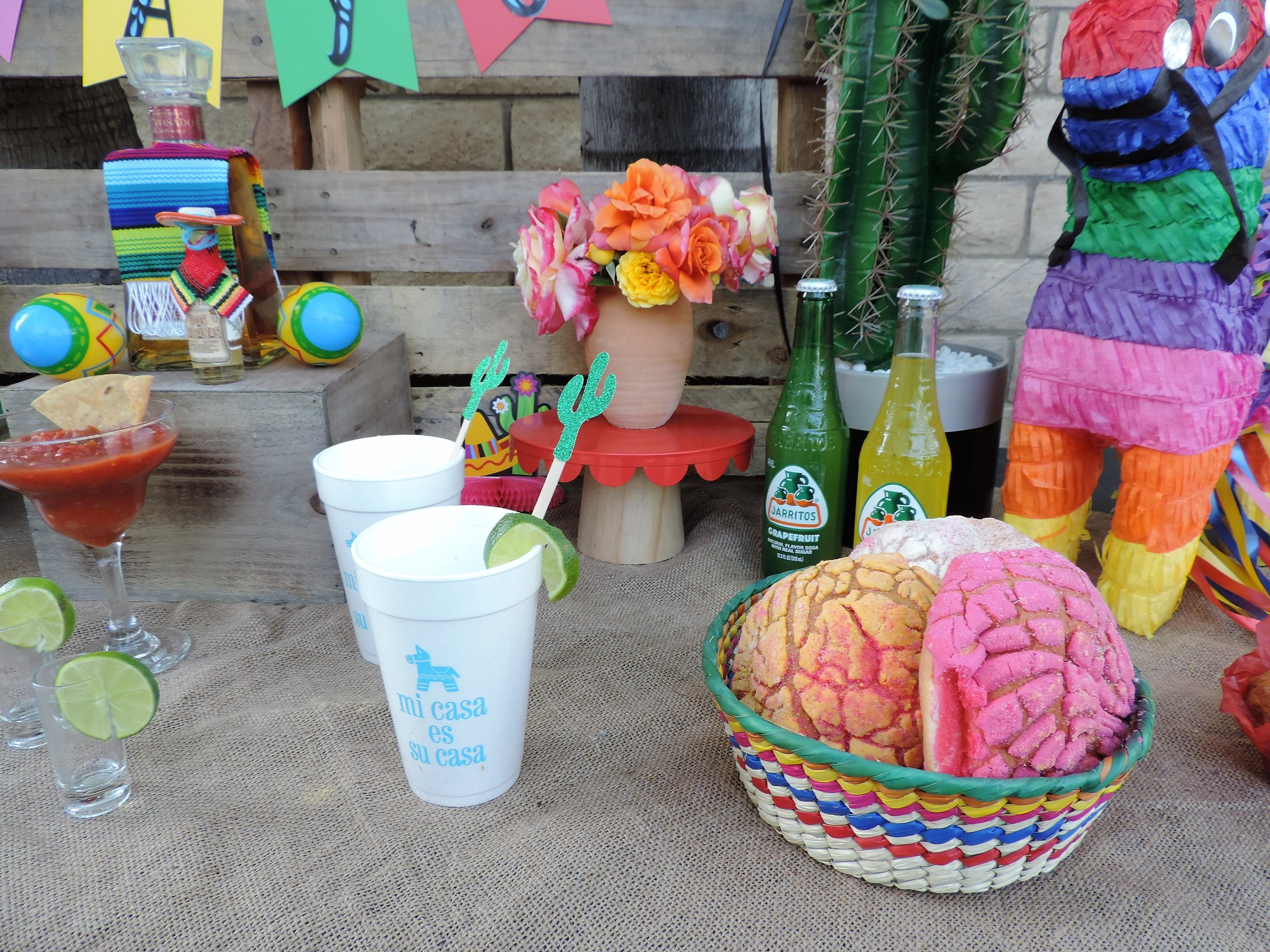 Pan Dulce.-Tequila Party Table-Cinco De Mayo Party-Tequila Party-Fiesta Party-Fiesta Drink Table-Tequila Party Ideas-Drinko De Mayo-Cinco De Mayo Party Idea-Mexican Theme Party-Fiesta-Cinco De Mayo Party Ideas and Decor-Taco Party-www.SugarPartiesLA.com