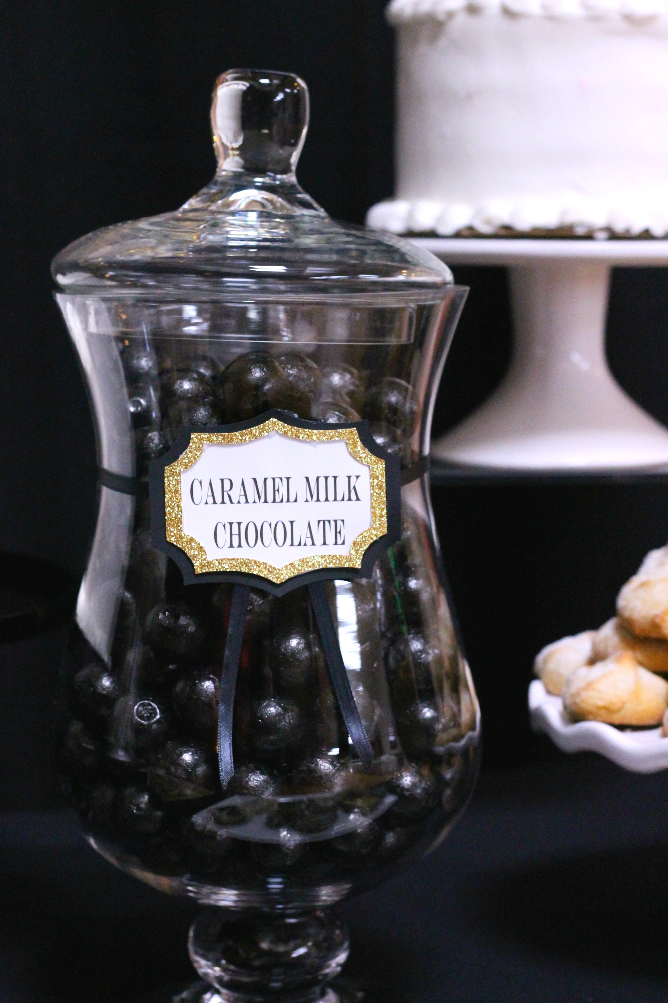 50th Birthday-black,gold and white party,50th party ideas,Happy 50th Birthday,candy jars