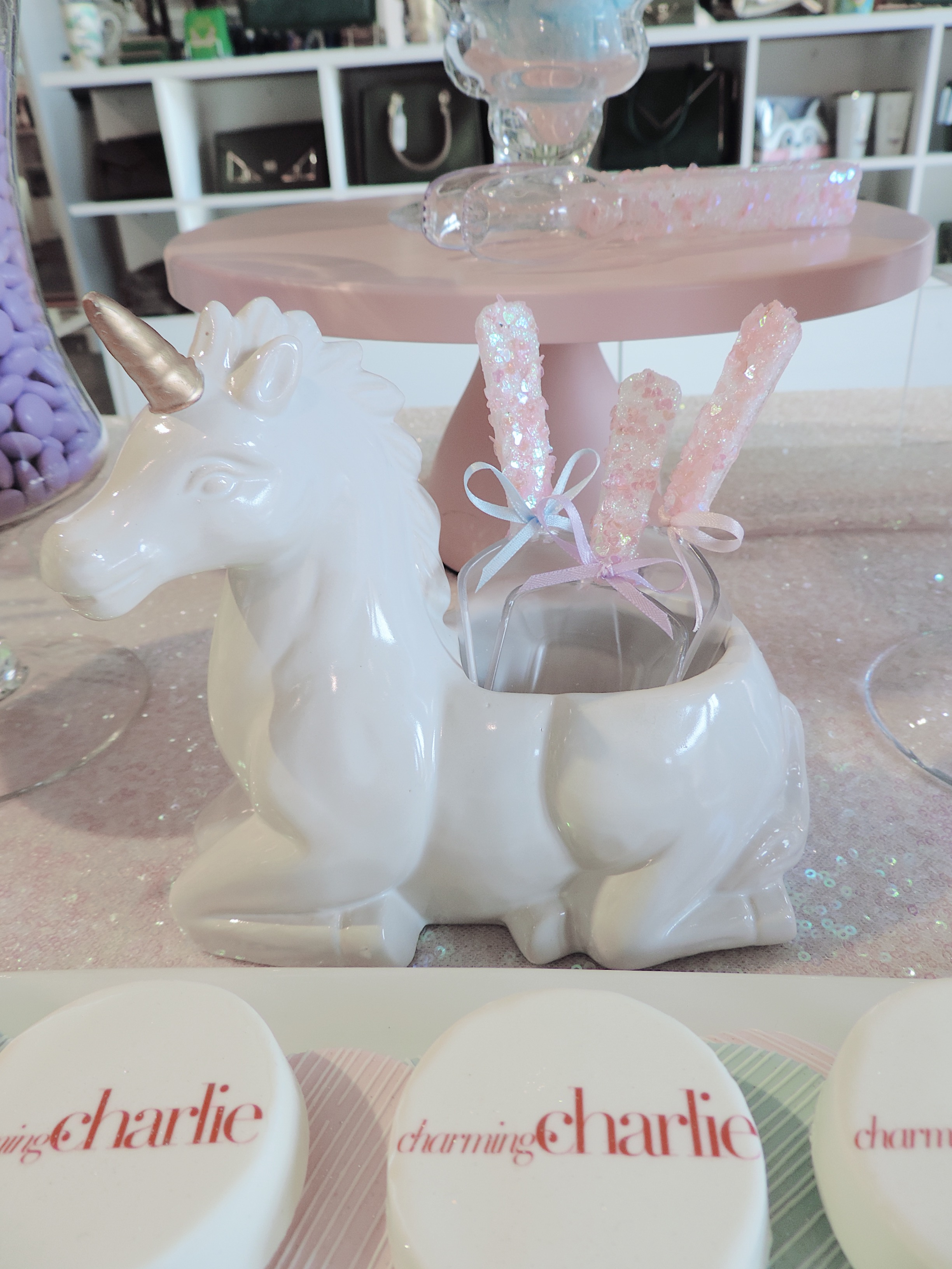Charming Charlie-Loey Lane-SugarPartiesLA-Dessert Table-unicorn-candy holders.JPG