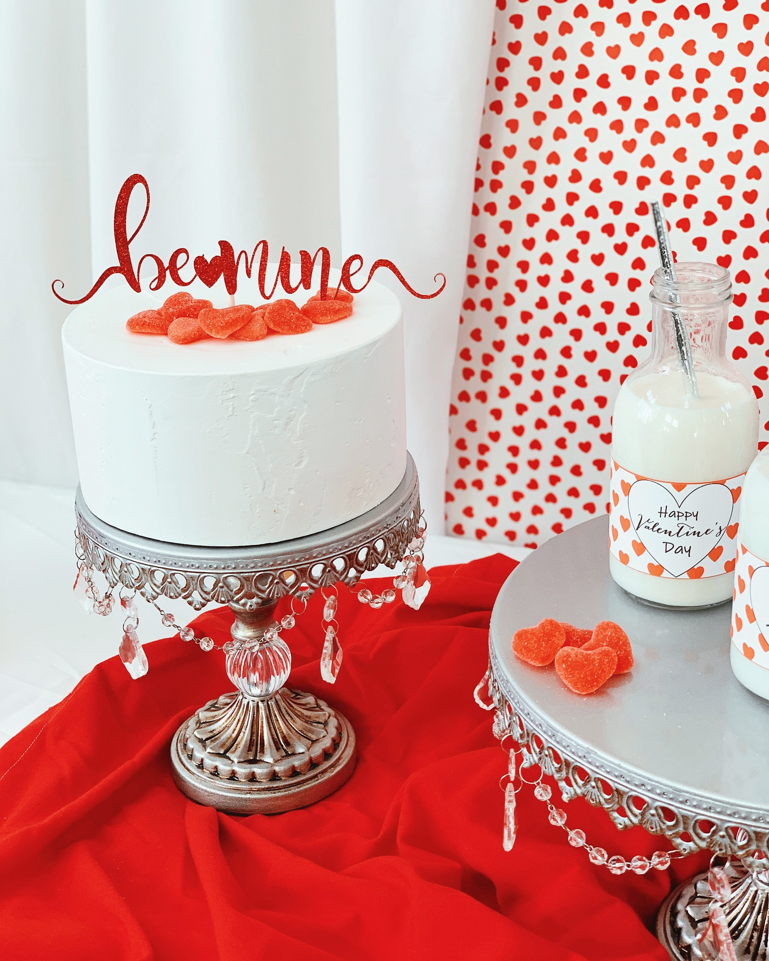 Valentine Party Ideas-Be Mine Cake Topper- Valentine Cake-www.SugarPartiesLA.com.jpeg