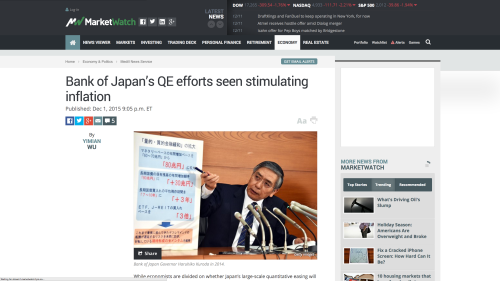 """Link to """"Bank of Japan's QE efforts seen stimulating inflation"""" on MarketWatch"""