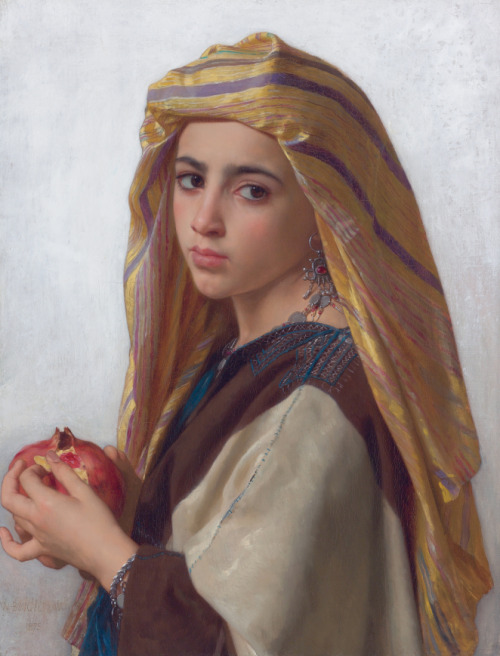 "Link to Wikimedia Commons page for ""Girl with a Pomegranate"" by William Bouguereau . The pomegranate connects to the classical Greek myth of  Persephone  as well as not being excluded by the Bible as a possibility for the forbidden fruit whose consumption constituted original sin."
