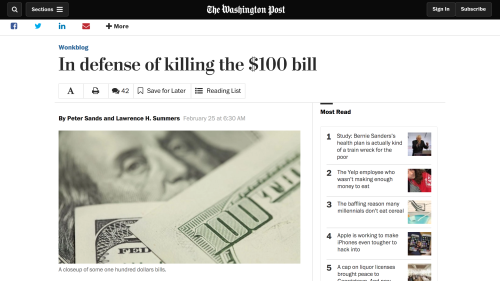 "Link to Peter Sands and Larry Summers's Washington Post op-ed ""In defense of killing the $100 bill"""