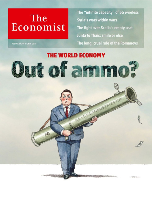 """Links to  """"The World Economy: Out of ammo? Central bankers are running down their arsenal. But other options exist to stimulate the economy"""" and  """"Fighting the next recession:Unfamiliar ways forward–Policymakers in rich economies need to consider some radical approaches to tackling the next downturn"""""""