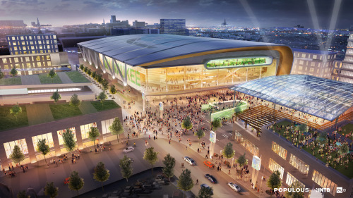 source for this image of the plans for the new Milwaukee Bucks arena