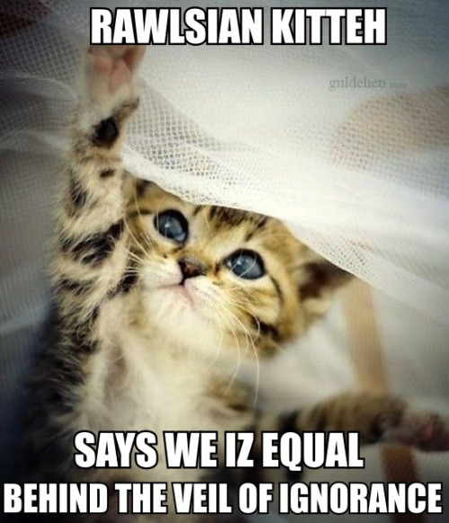 """Although I differ with John Rawls on details, I like John Rawls's perspective very much. And this is a very cute kitten. So I love this  econlolcats post by Ishita!    When uncertainty and randomness form the basis of your philosophy…   This econlolcats post is a harbinger of a Quartz column with the working title""""How Low Can Interest Rates Go?"""" It is coauthored with my brother Christian Kimball, who as a top-flight tax lawyer is well equipped to help take down  John Cochrane's claim that tax arbitrage is enough by itself to create a lower bound on interest rates ."""