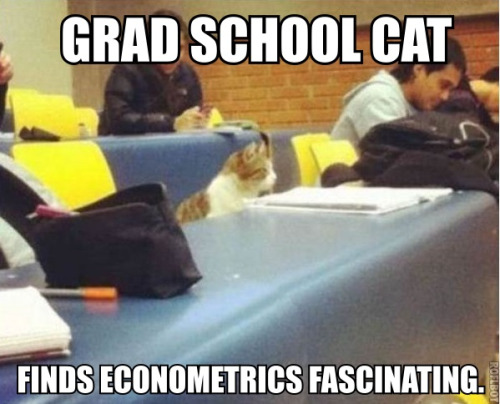 Grad School Cat Finds Econometrics Fascinating   This cat looks like a great student to me.  This reblogged post from  econlolcats  (by MichaelH) is a harbinger of my upcoming Quartz column defending Clay Christensen. I will post a link as soon as I see it up.