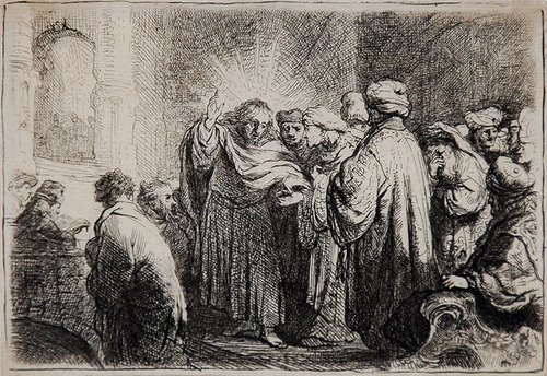 "Rembrandt's etching ""The Tribute Money,""  depicting the moment Jesus said ""Render unto Caesar the things which are Caesar's, and unto God the things which are God's."""