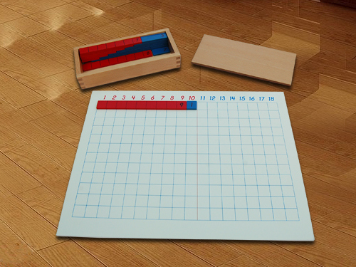 A Montessori addition strip board. Image via jsmontessori.com