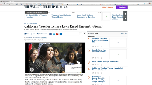 "Link to ""California Teacher Tenure Laws Ruled Unconstitutional"""