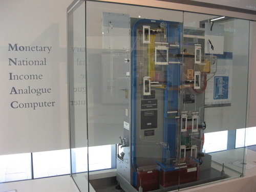 "MONIAC: The ""Monetary National Income Analogue Computer"" or ""Phillips Hydraulic Computer"" built by William Phillips to model the UK economy, displayed at the Reserve Bank of New Zealand."