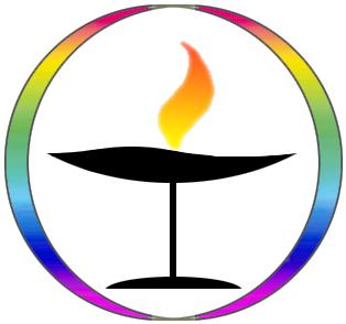 Rainbow chalice , a symbol of  Unitarian Universalism