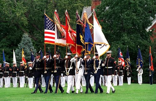 United States Joint Services Color Guard on parade at Fort Myer, Virginia