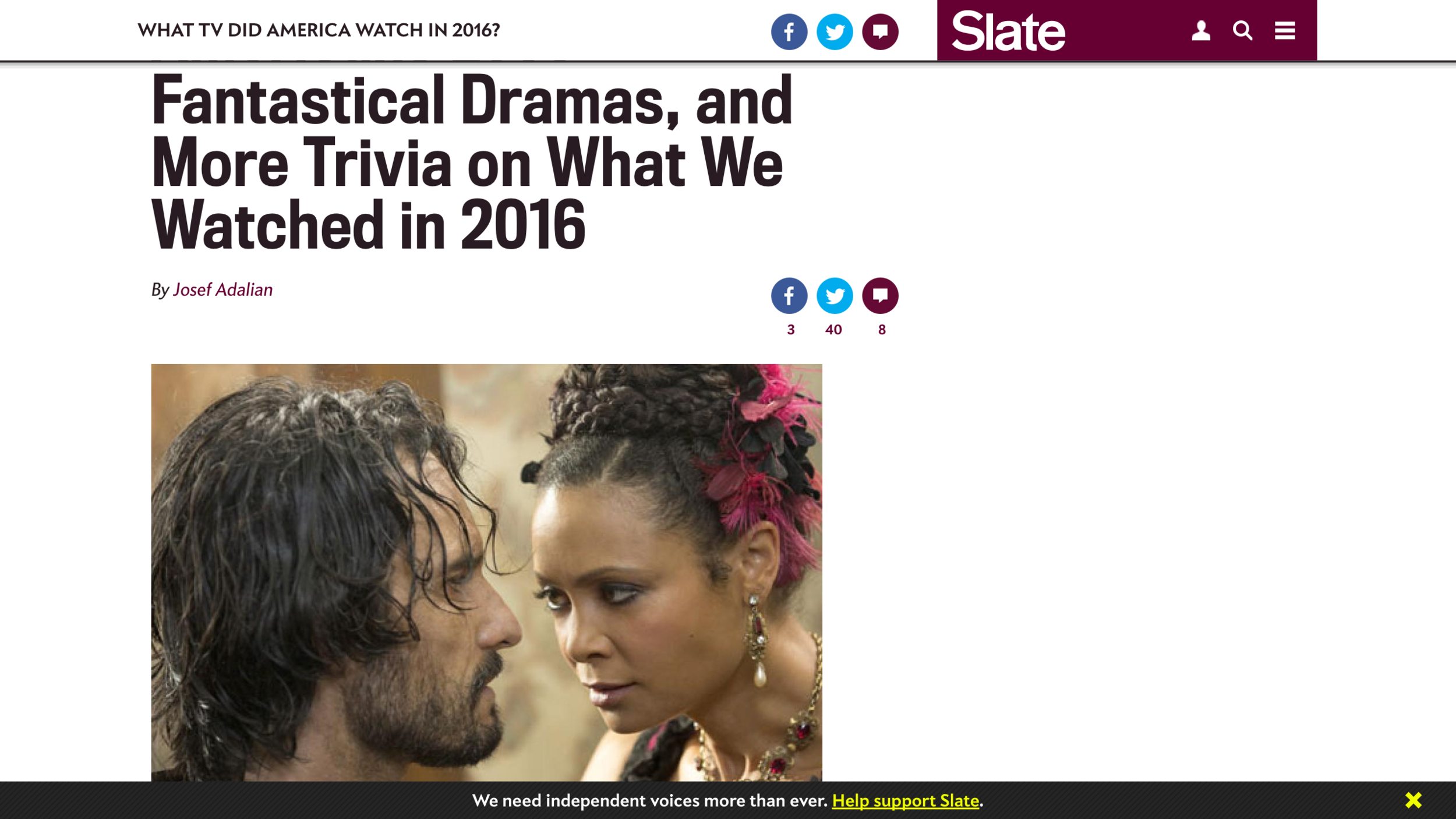 Link to Slate article   Americans Love Fantastical Dramas, and More Trivia on What We Watched in 2016