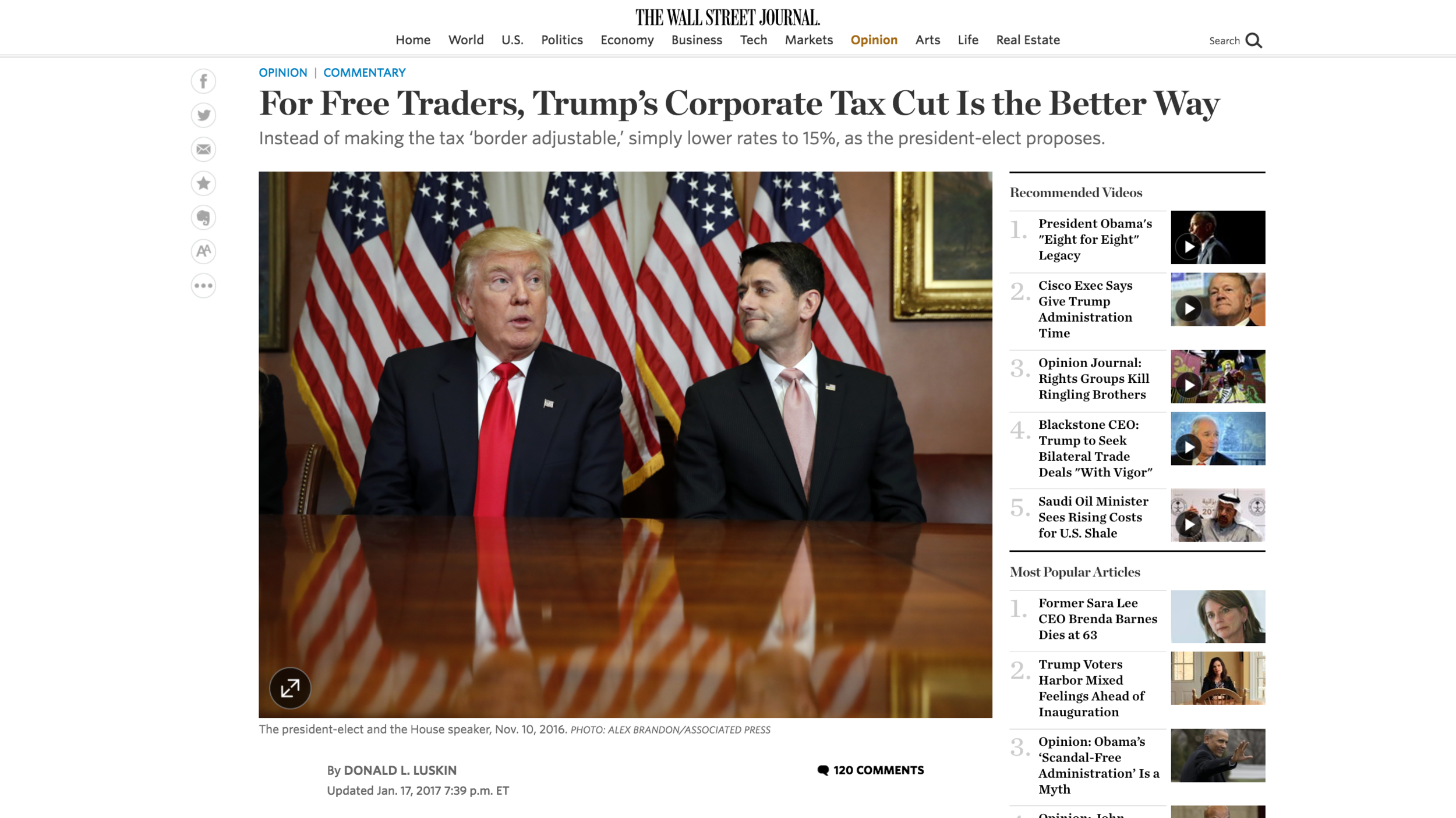 "Link to Donald Luskin's January 17, 2017 Wall Street Journal op-ed ""For Free Traders, Trump's Corporate Tax Cut is the Better Way"""