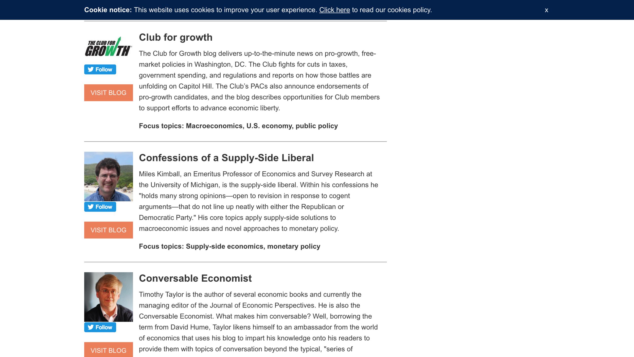 LInk to the FocusEconomics list of top economics and finance blogs
