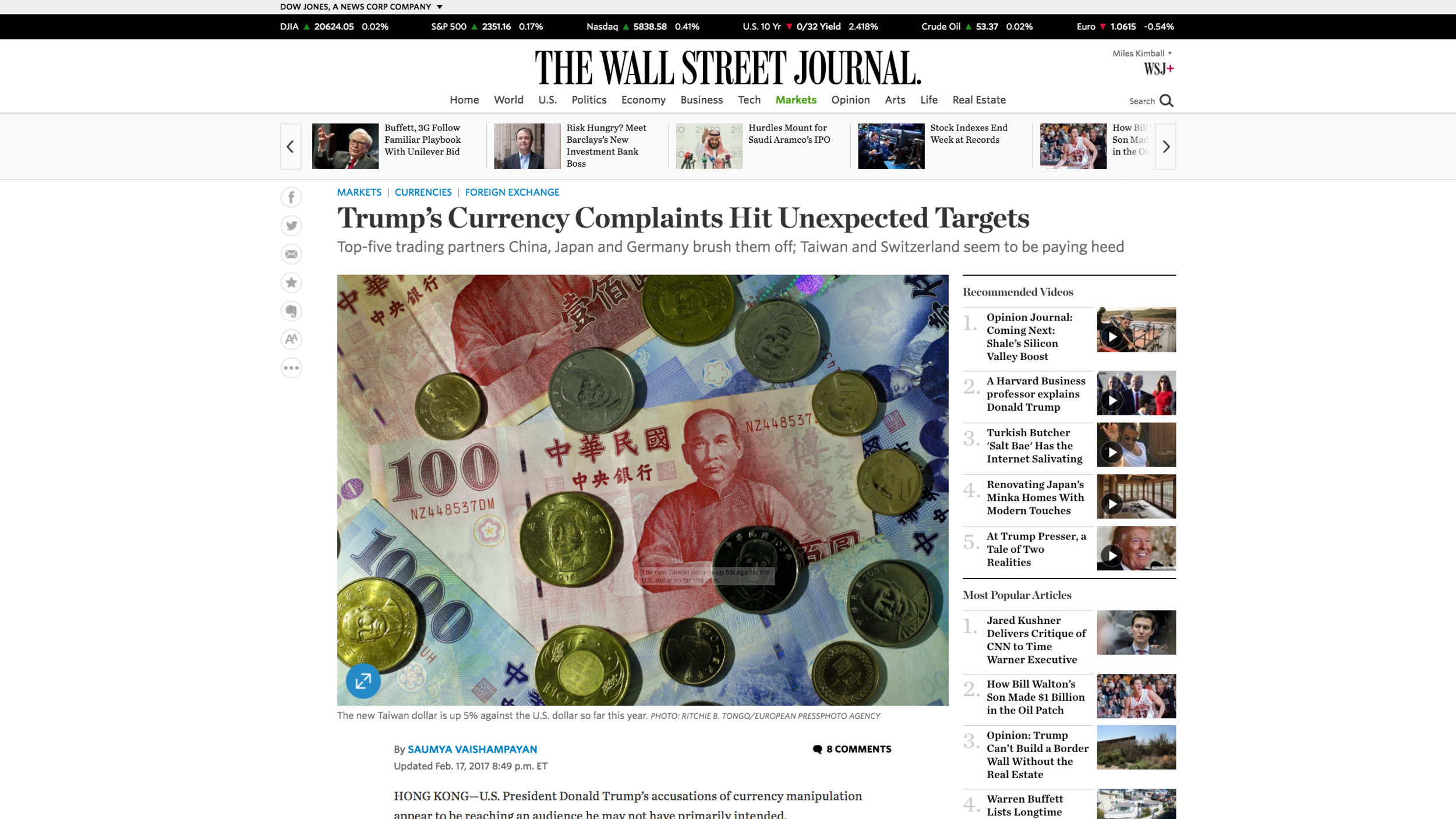 """Link to Shaumya Vaishampayan's February 17, 2017 Wall Street Journal article """"  Trump's Currency Complaints Hit Unexpected Targets"""""""