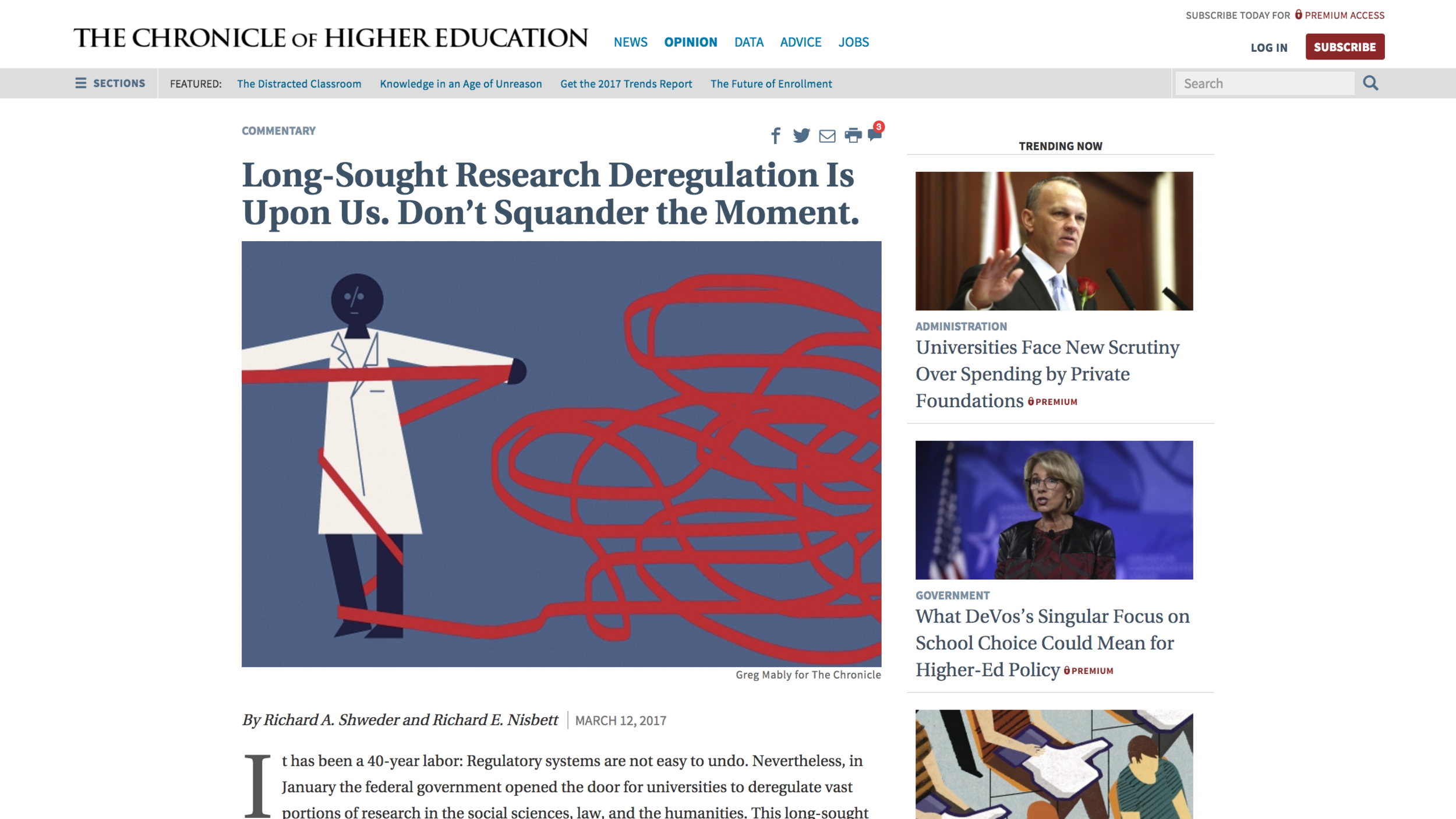 """Link to the March 12, 2017 Chronicle of Higher Education Article """" Long-Sought Research Deregulation Is Upon Us. Don't Squander the Moment."""" by Richard Shweder and Richard Nisbett"""