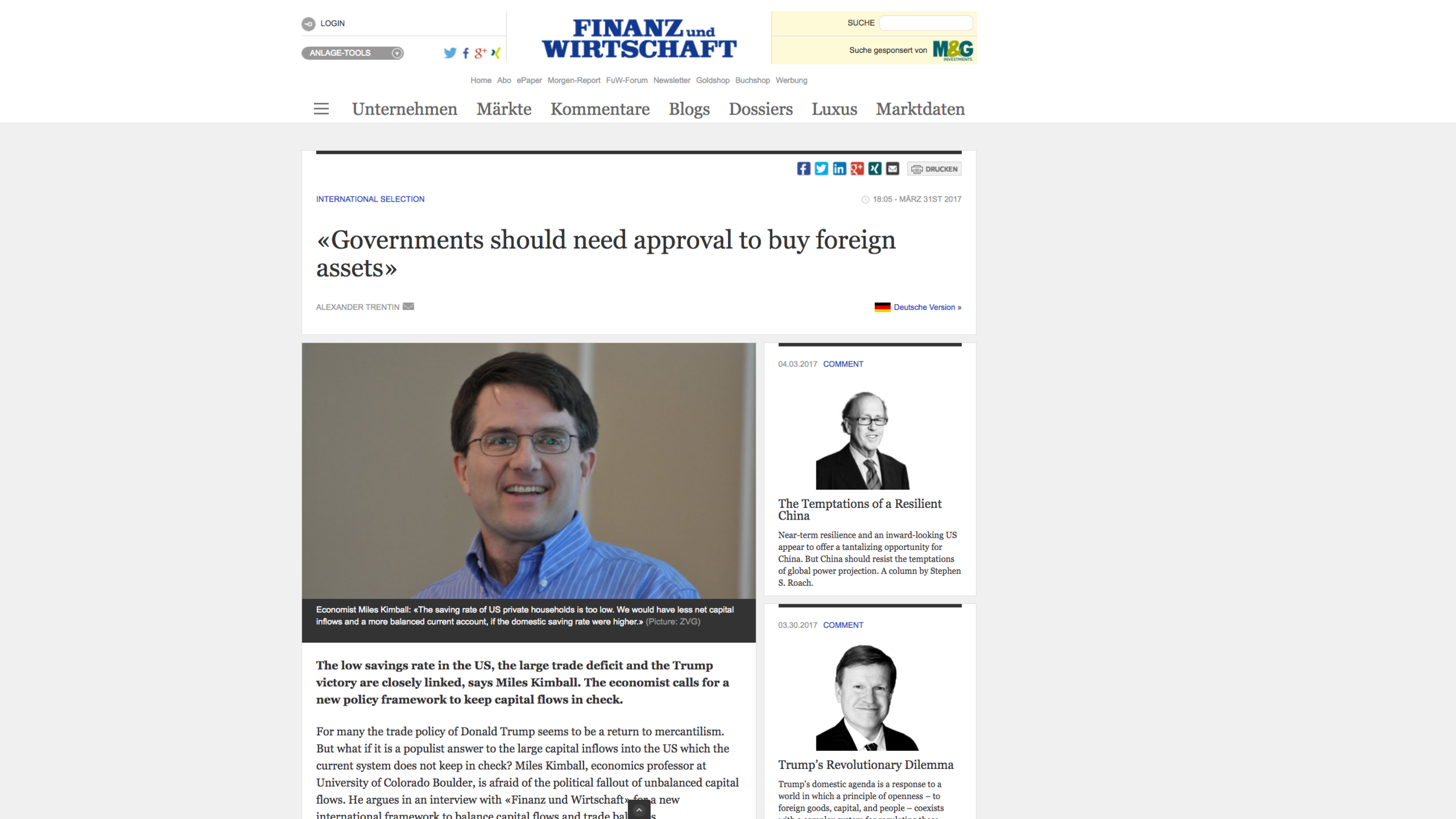 Link to the interview as it appears on the Finanz und Wirtschaft website in English      Link to the interview in German