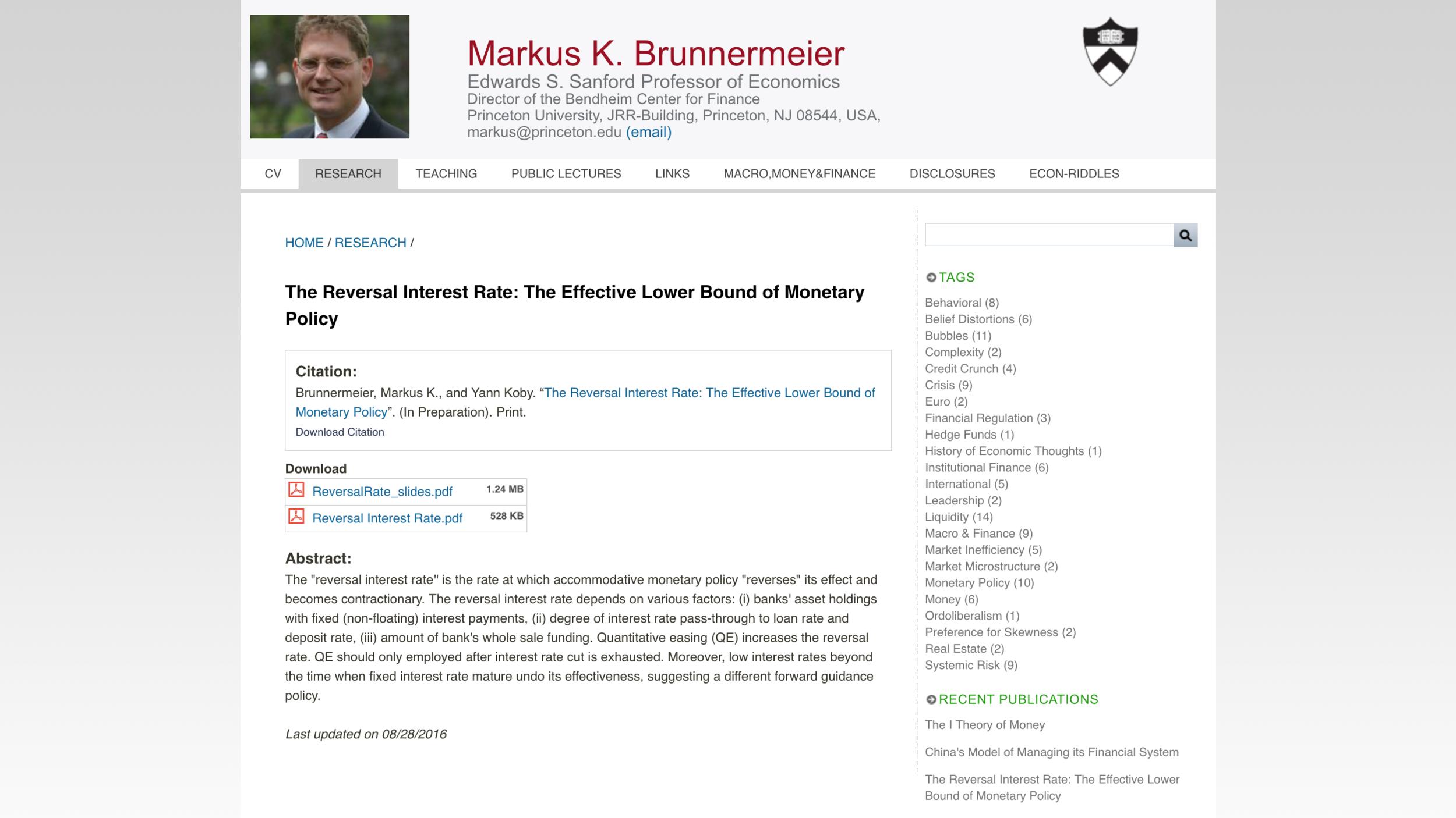 Link to Markus Brunnermeier's Princeton University webpage shown above