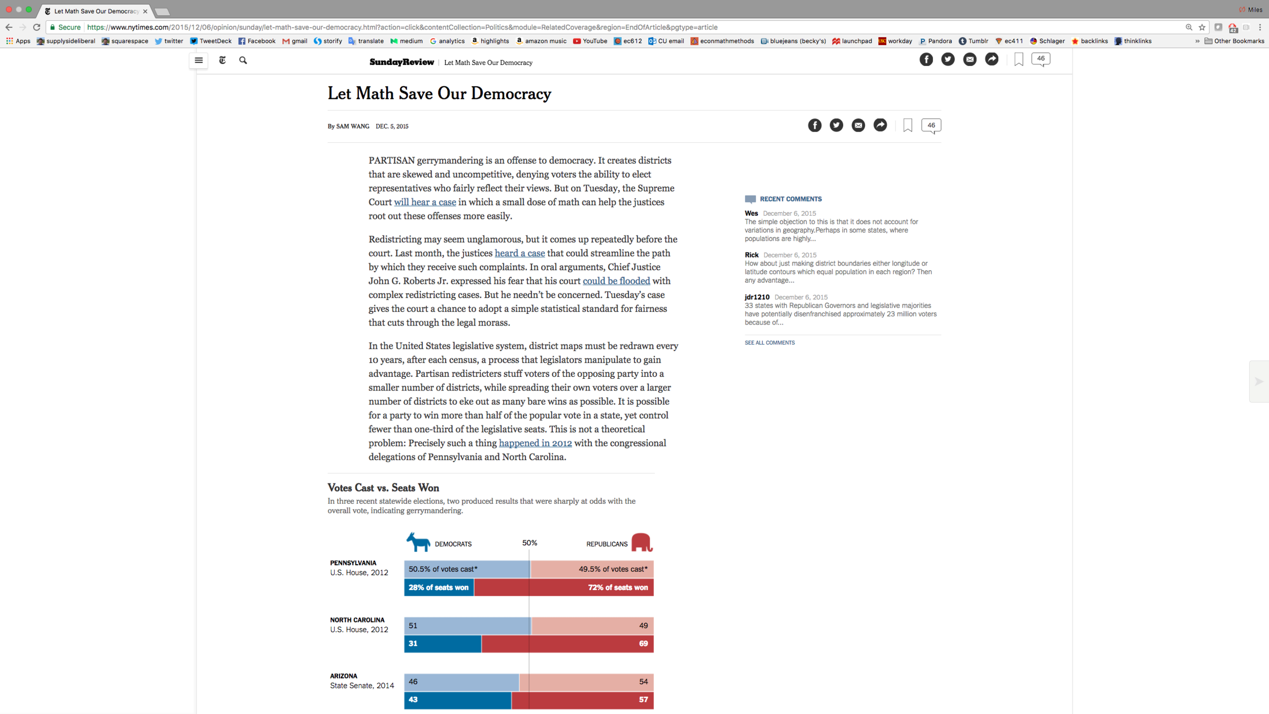 """Link to Sam Wang's December 5, 2015 New York Times article """"Let Math Save Our Democracy"""""""