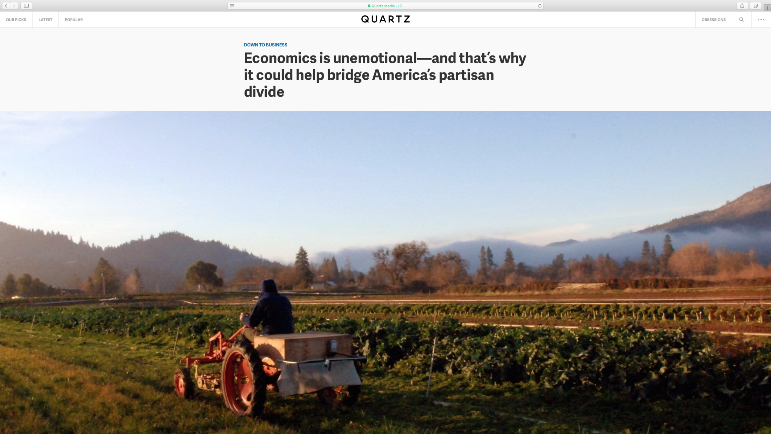 """Link to """"Down to Business:Economics is unemotional—and that's why it could help bridge America's partisan divide"""" on Quartz"""