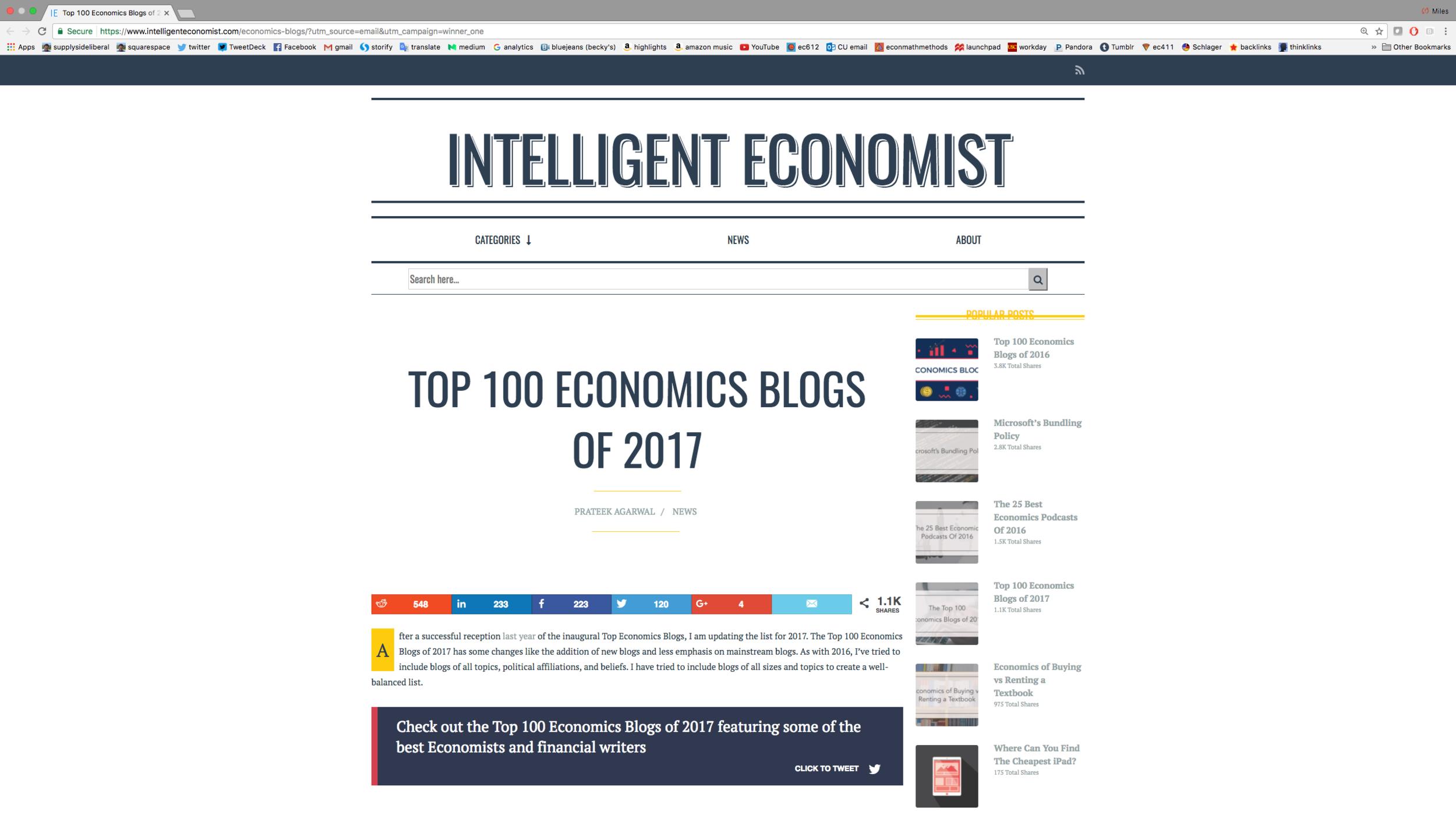 Link to Intelligent Economist's top 100 list of economics blogs