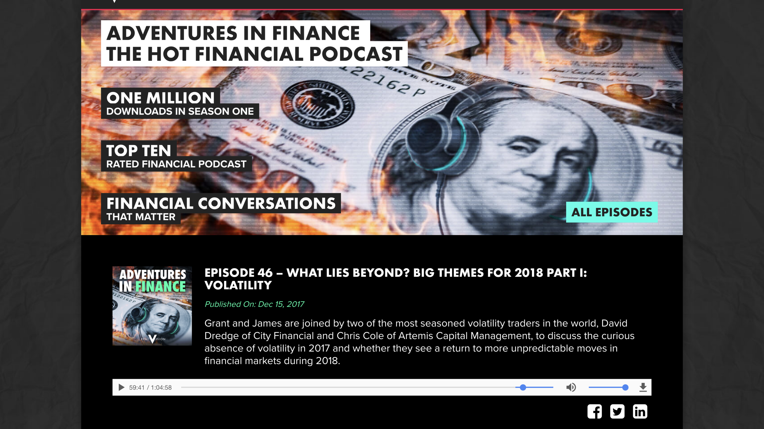 For the unedited audio version of Miles's recipe for success, go to the webpage linked here & start at the 59:41 mark as shown     Thanks to all the folks at Adventures in Finance for making this happen