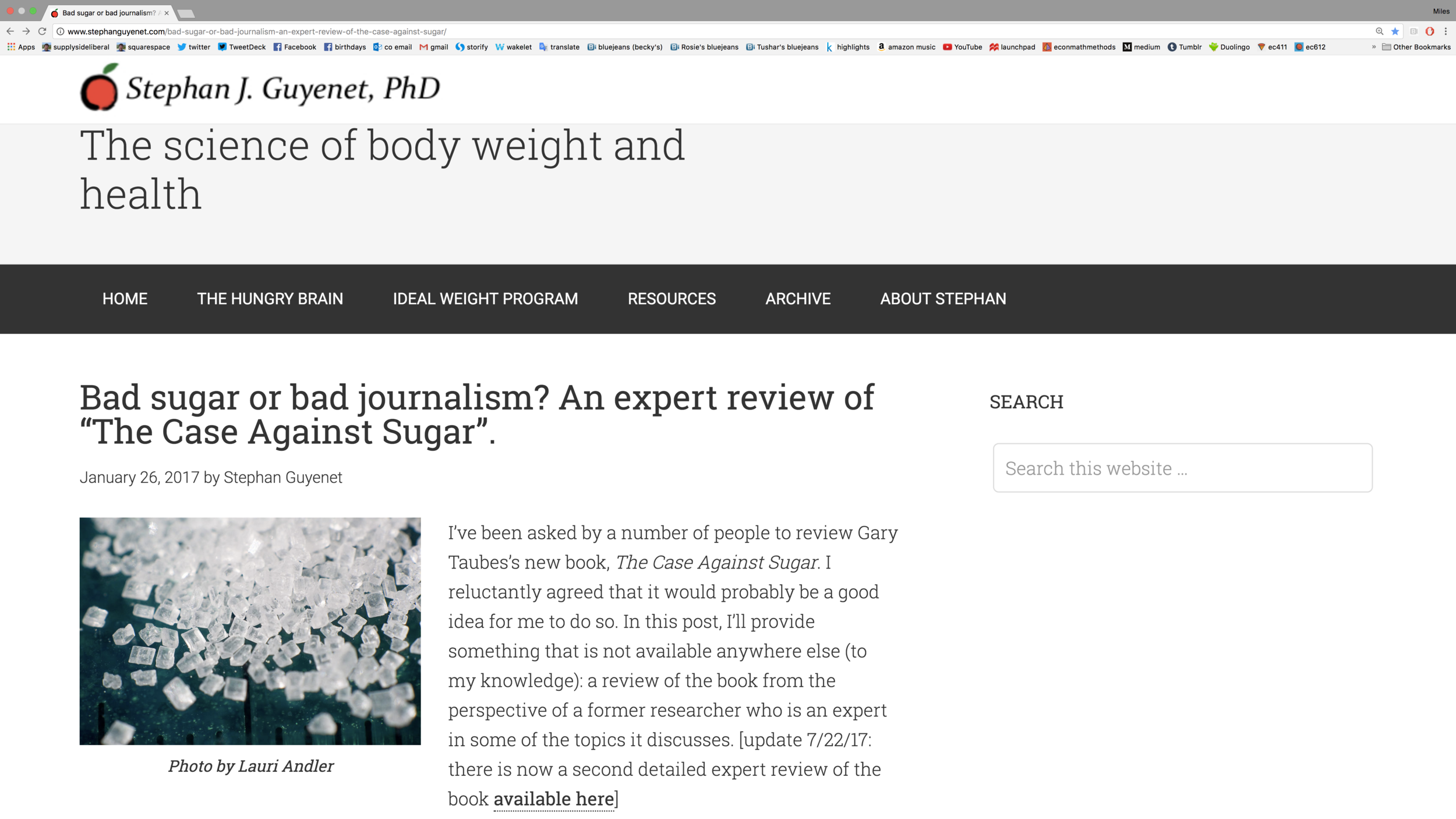 "Link to Stephan Guyenet's blog post ""Bad sugar or bad journalism? An expert review of ""The Case Against Sugar""."