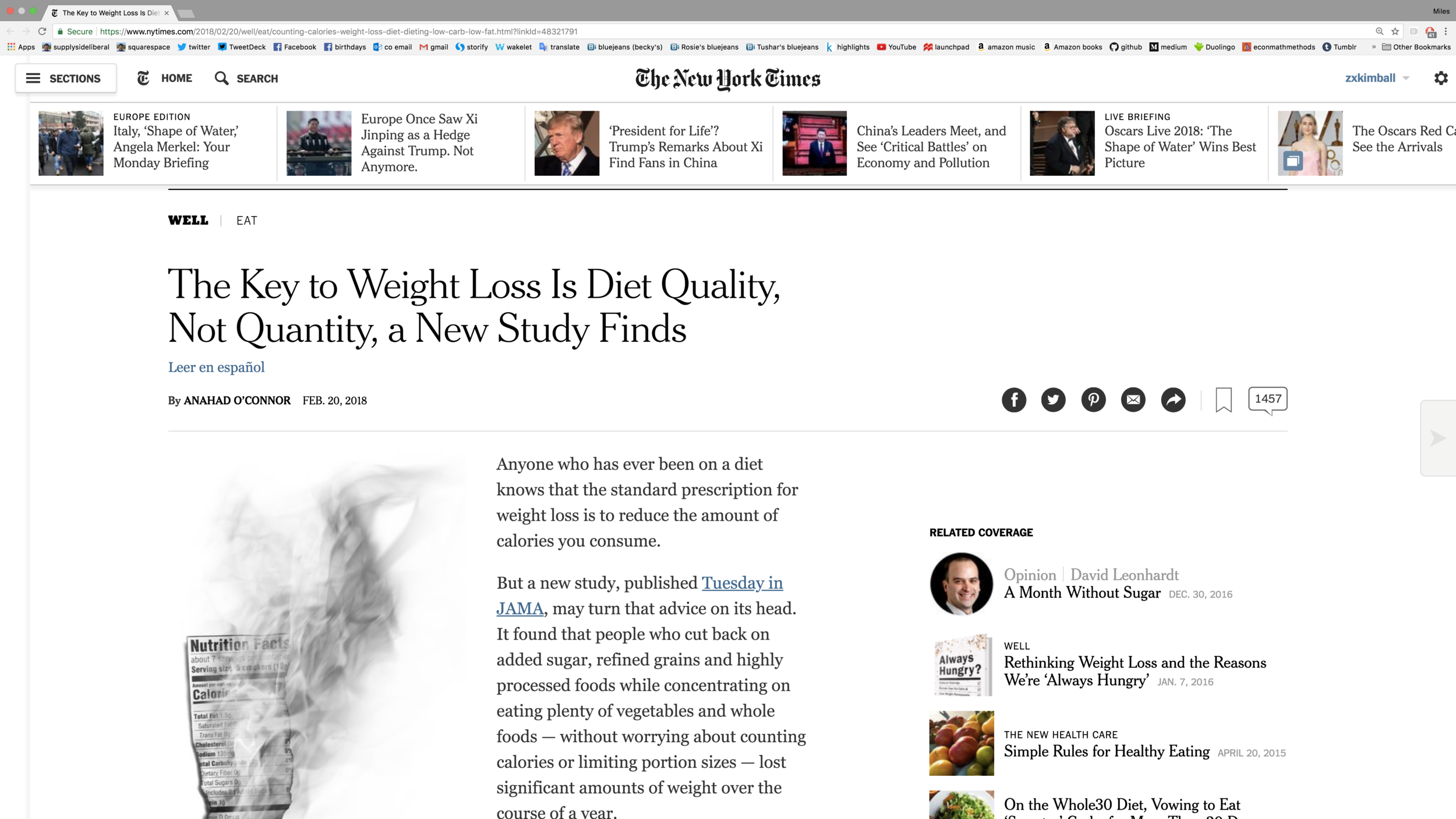 Link to Anahad O'Connor's article in the New York Times