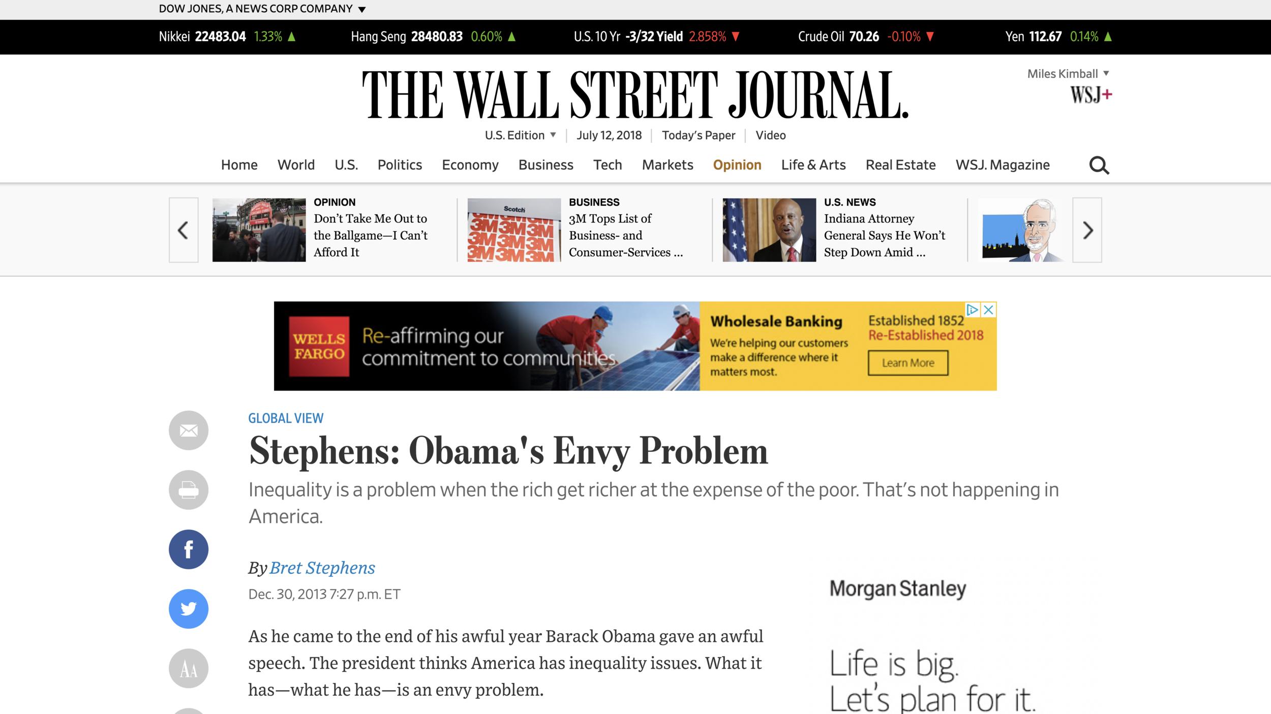 """Link to Bret Stephens's op-ed """"Obama's Envy Problem"""""""