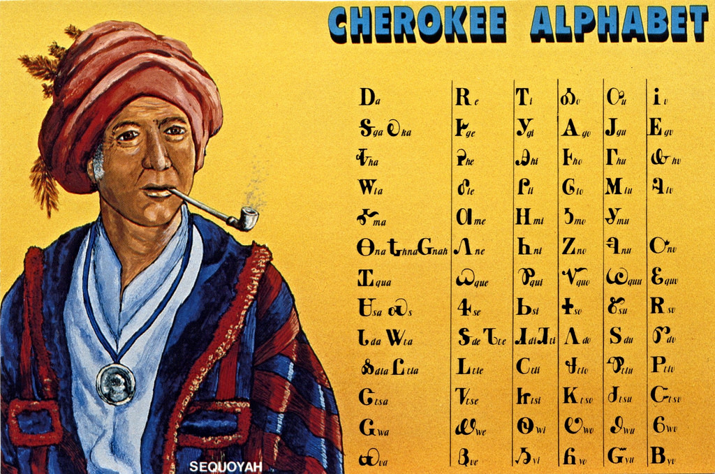 """Image source.  Link to the Wikipedia article """"Cherokee syllabary.""""  Link to the Wikipedia article """"Sequoyah."""""""