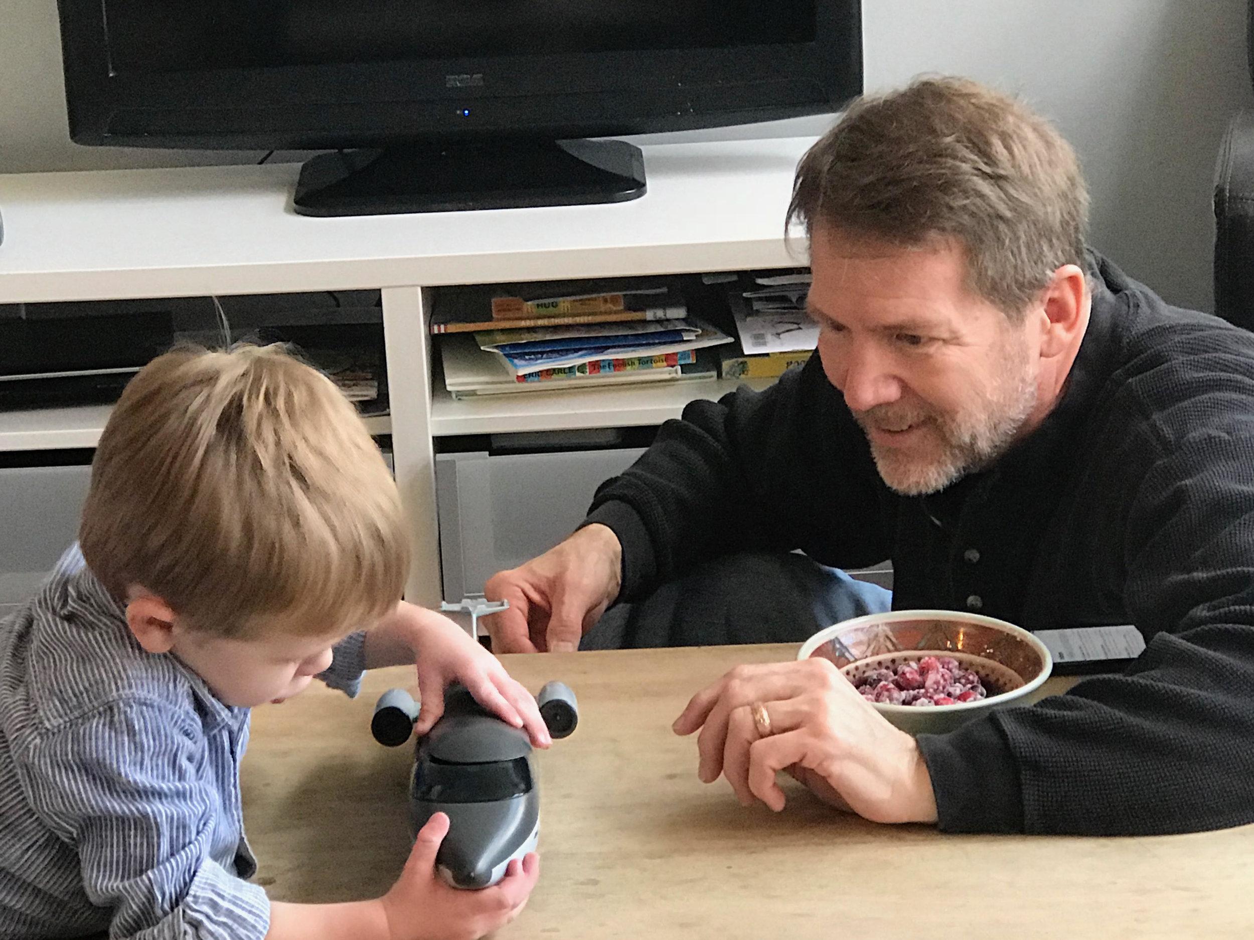 Chris Kimball and his grandson