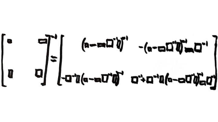 """The Partitioned-Matrix Inversion Formula.    This image first appeared in the the post """"   The Partitioned Matrix Inversion Formula   .""""   Image created by Miles Spencer Kimball. I hereby give permission to use this image for anything whatsoever, as long as that use includes a link to this blog. For example, t-shirts with this picture (among other things) and supplysideliberal.com on them would be great! :)    Here is a link to the Wikipedia article """"Block Matrix,""""    which talks about the partitioned matrix inversion formula."""