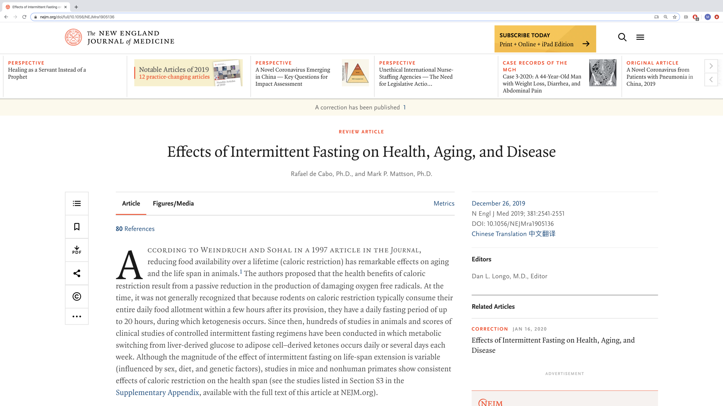 The New England Journal of Medicine Review of the Effects ...