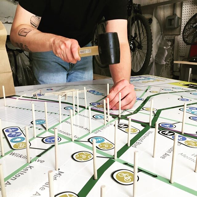 A peek inside the HLA workshop from last month. The team is getting our #firstlastmile game ready for community pop-ups with @metrolosangeles and @ibi_group #gameification #communityoutreach #tacticalurbanism #creativedialogue