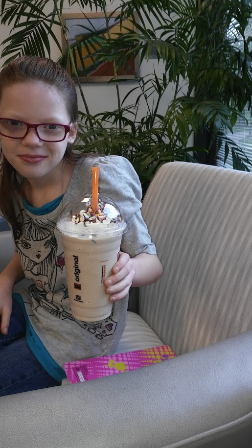Our weekly appointments involved Biggby homework and lots of caffeine for this mommy. Bellla loves frozen hot chocolate