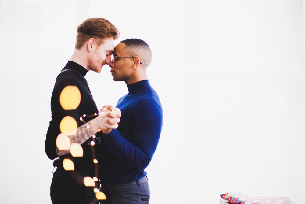 Toronto gay christmas card engagement photoshoot